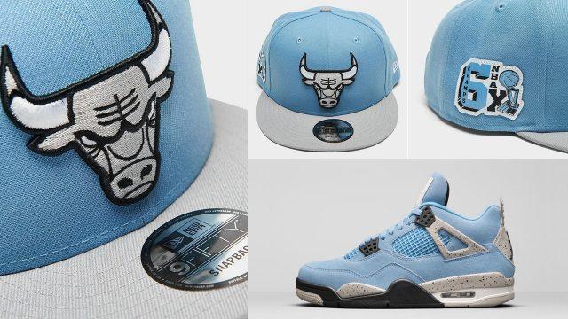 air-jordan-4-university-blue-grey-bulls-snapback-cap