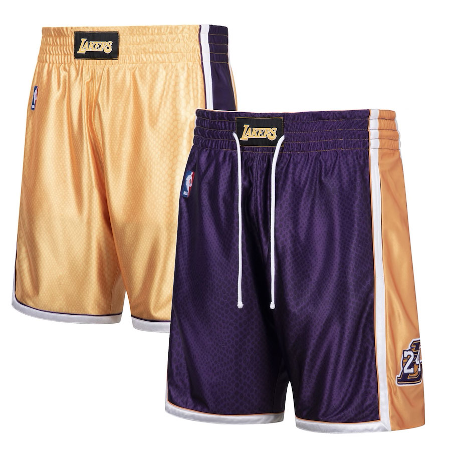 kobe-bryant-lakers-reversible-snakeskin-shorts-mitchell-and-ness
