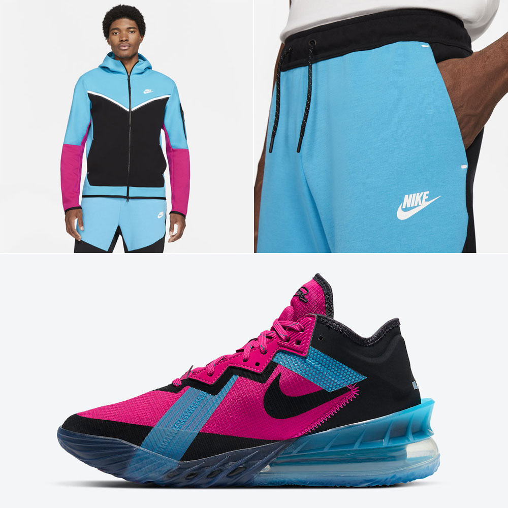 nike-lebron-18-low-fireberry-neon-nights-hoodie-pants-outfit