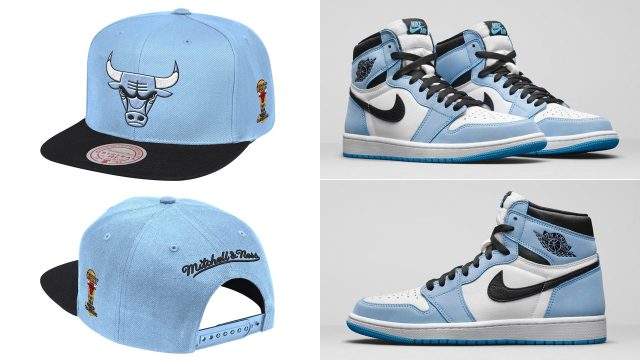 jordan-1-high-university-blue-bulls-snapback-hat-mitchell-ness