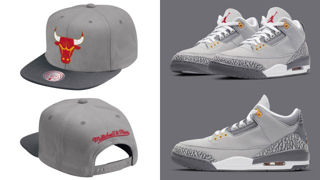 jordan-3-cool-grey-bulls-snapback-hat-mitchel-ness