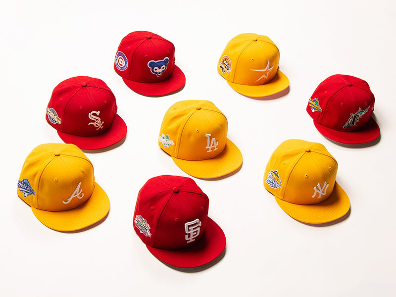 new-era-mlb-red-and-gold-yellow-fitted-hats