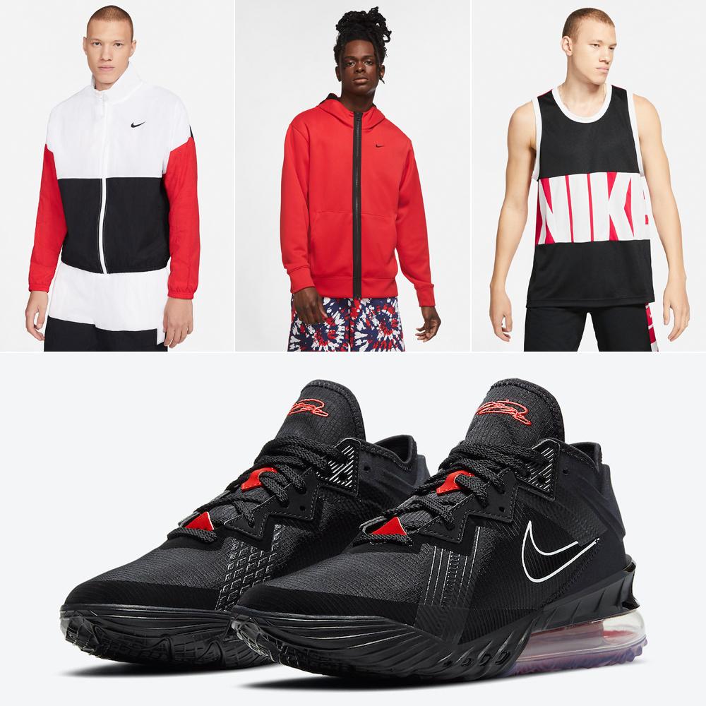 nike-lebron-18-low-bed-black-university-red-basketball-clothing