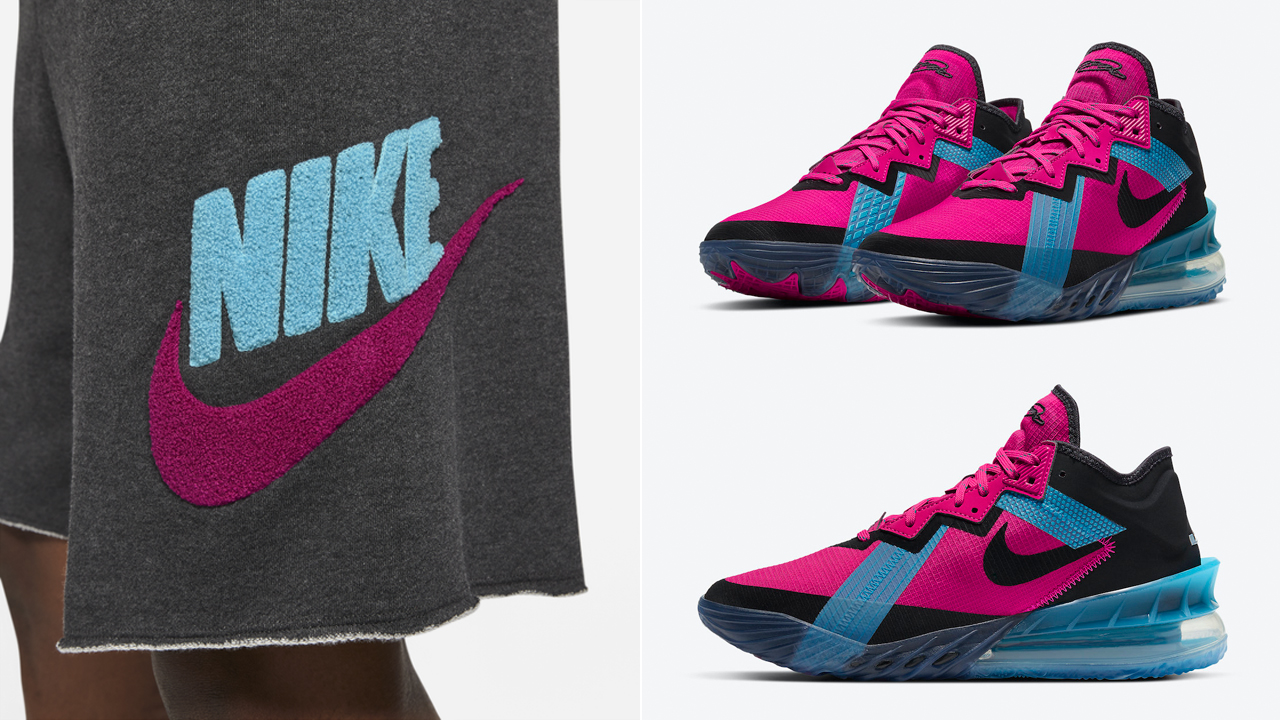 nike-lebron-18-low-neon-nights-fireberry-shorts-match-outfit