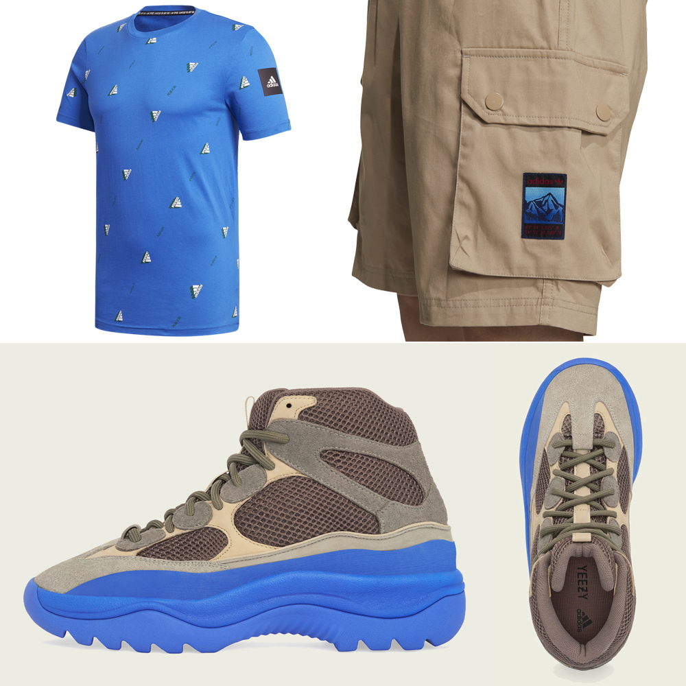 yeezy-desert-boot-taupe-blue-shirt-shorts-outfit