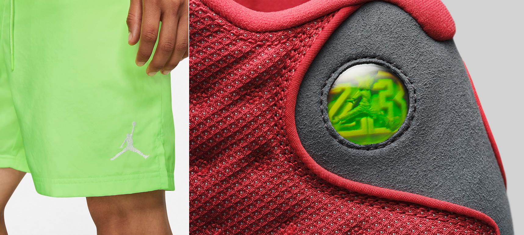 air-jordan-13-red-flint-green-shorts-match