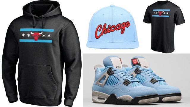 air-jordan-4-university-blue-chicago-bulls-shirt-hat-hoodie-outfit