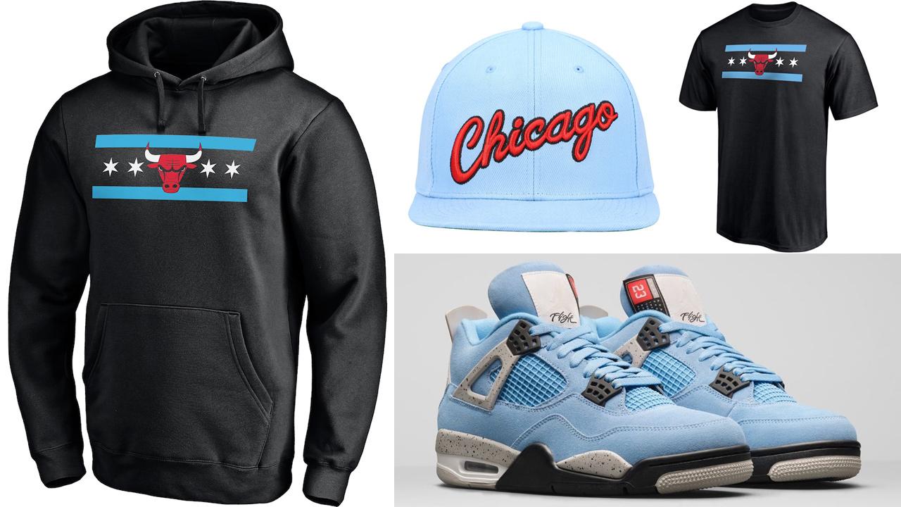 air-jordan-4-university-blue-chicago-bulls-shirt-hat-hoodie-outfit