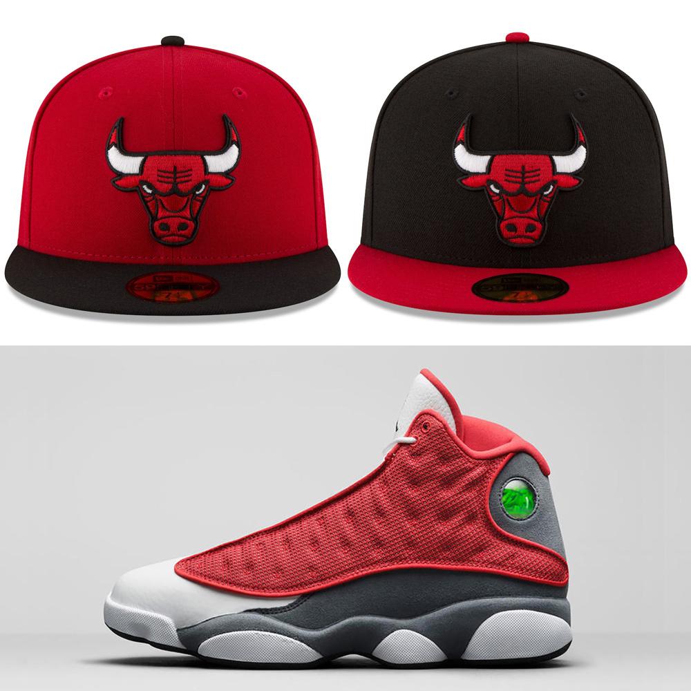 jordan-13-red-flint-fitted-hats