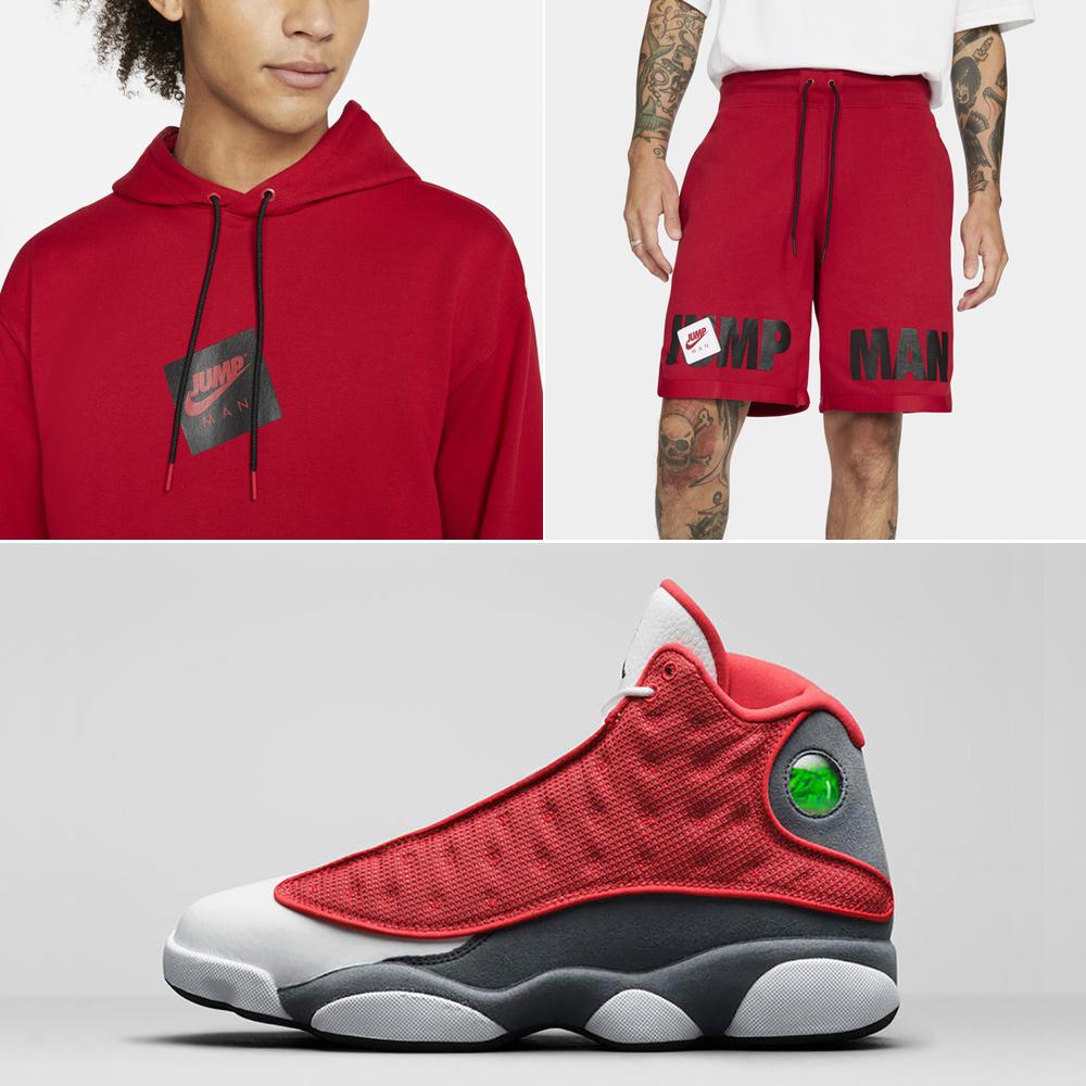 jordan-13-red-flint-hoodie-shorts-outfit