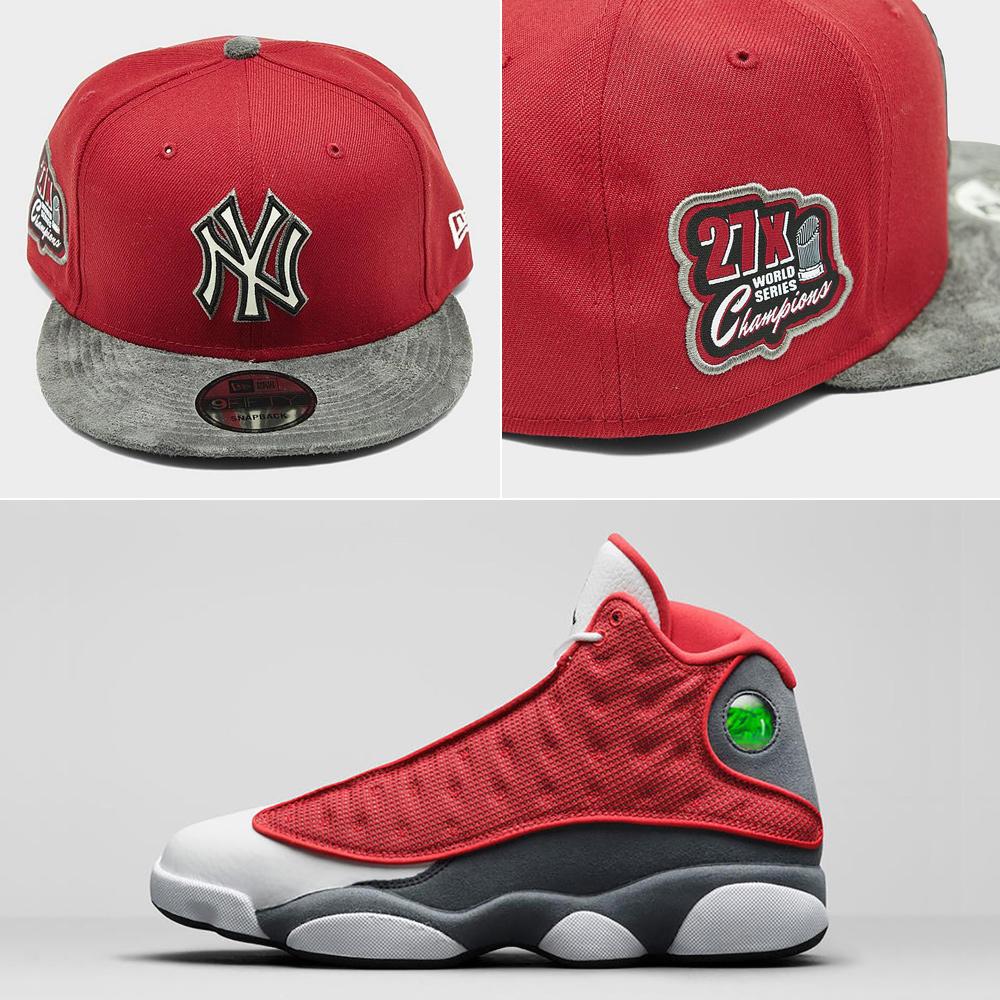 jordan-13-red-flint-yankees-hat