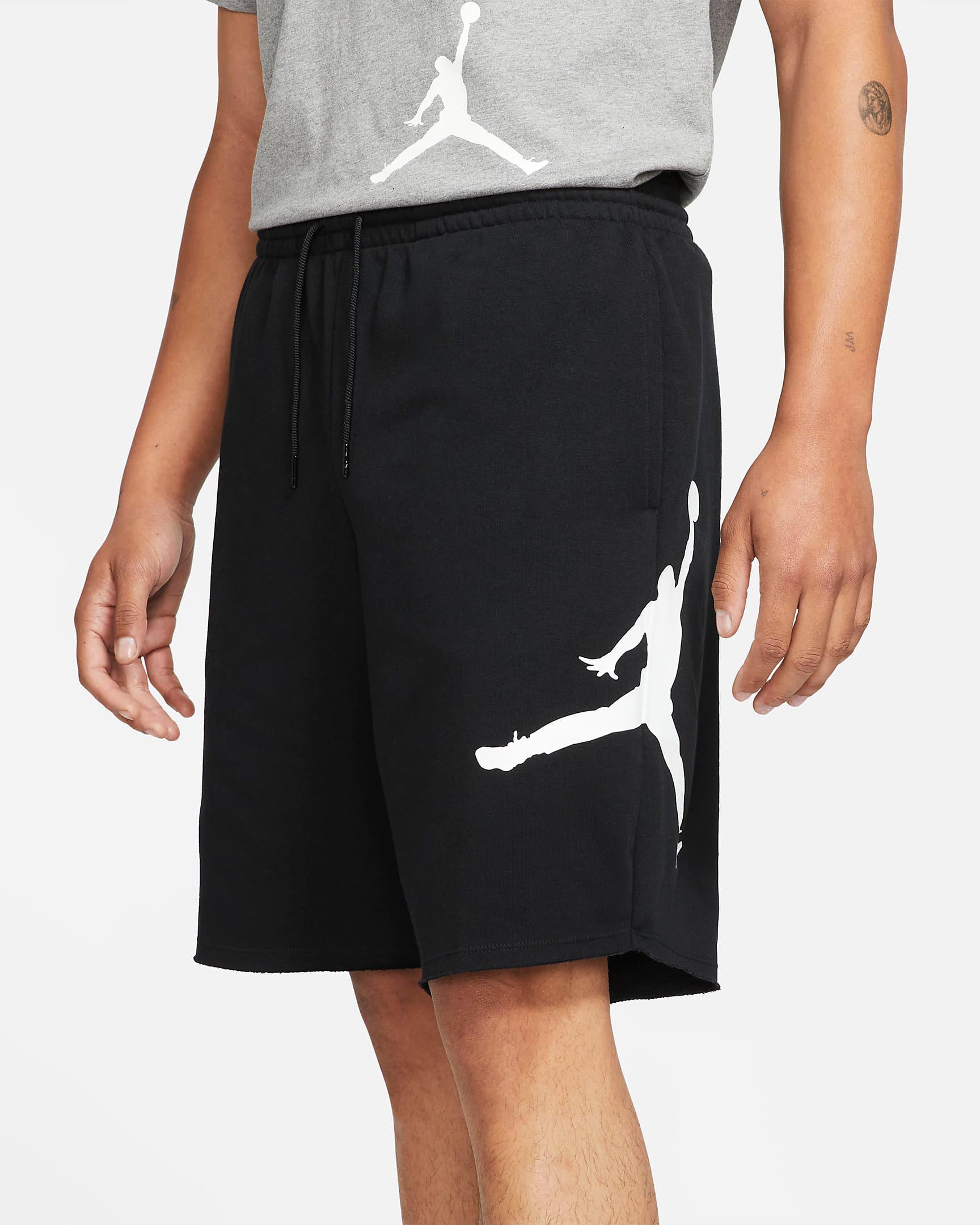 jordan-jumpman-logo-black-white-fleece-shorts