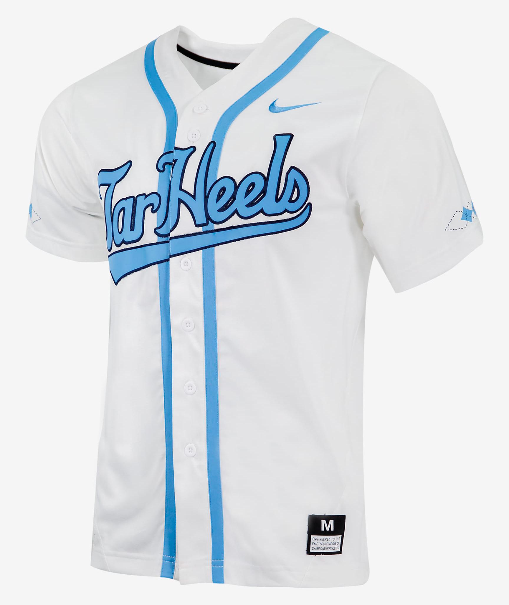 nike unc north carolina tar heels university blue baseball jersey