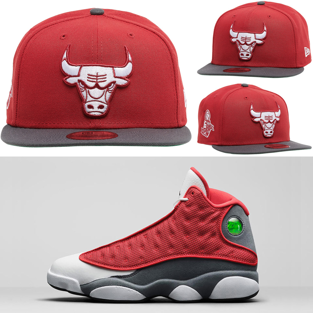 red-flint-jordan-13-bulls-hat