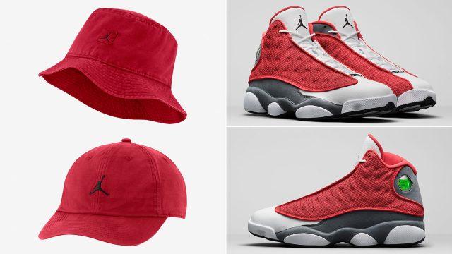 air-jordan-13-red-flint-jumpman-hats-to-match