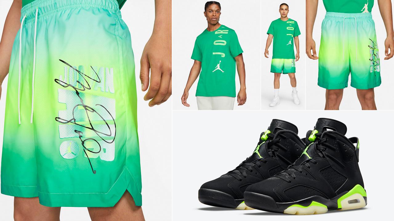 air-jordan-6-electric-green-shirt-shorts-sneaker-outfit