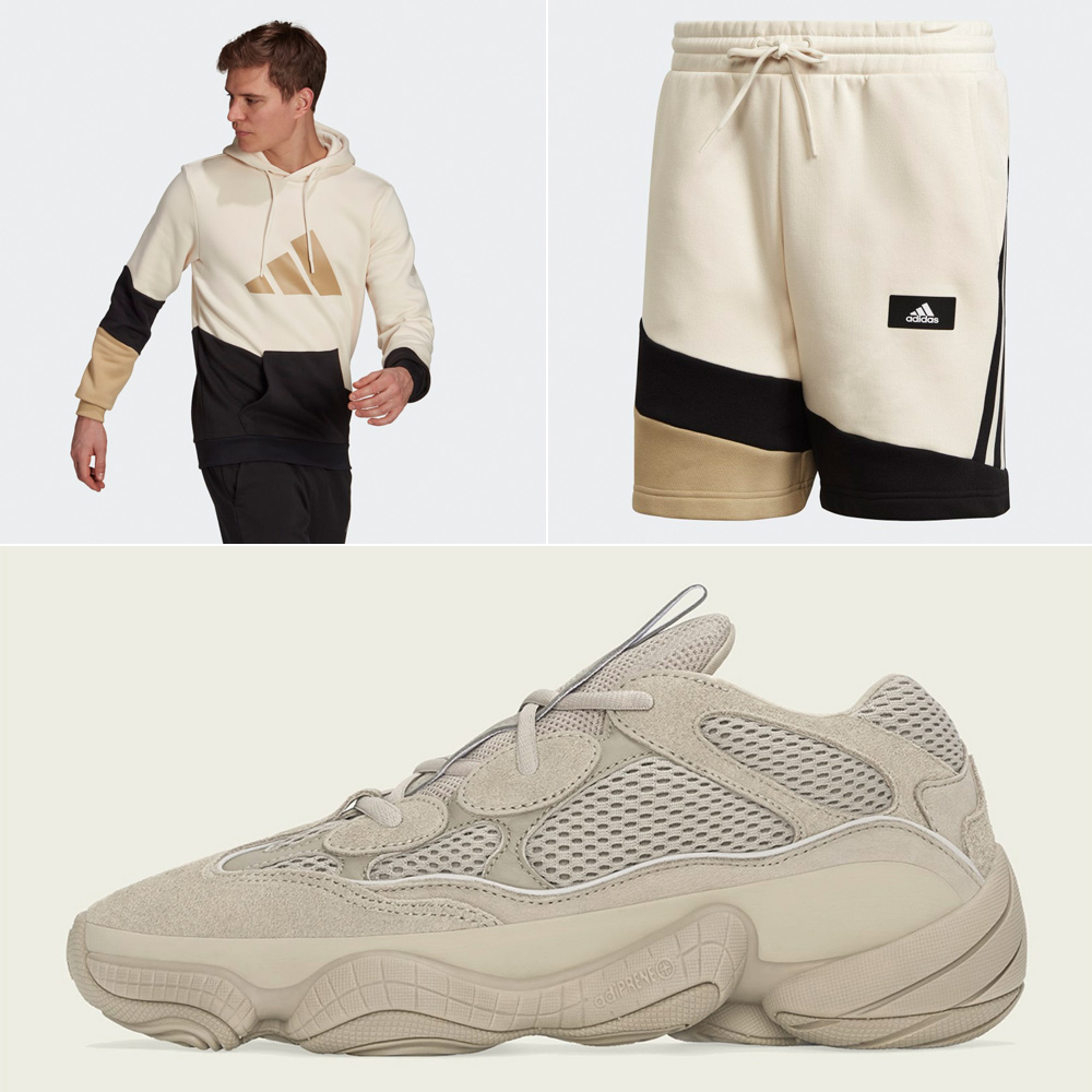 adidas-yeezy-500-taupe-light-hoodie-shorts-outfit-match
