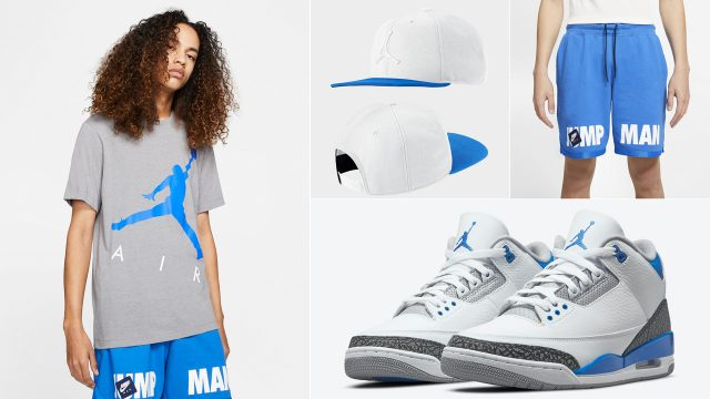 air-jordan-3-racer-blue-outfit-shirt-hat-shorts