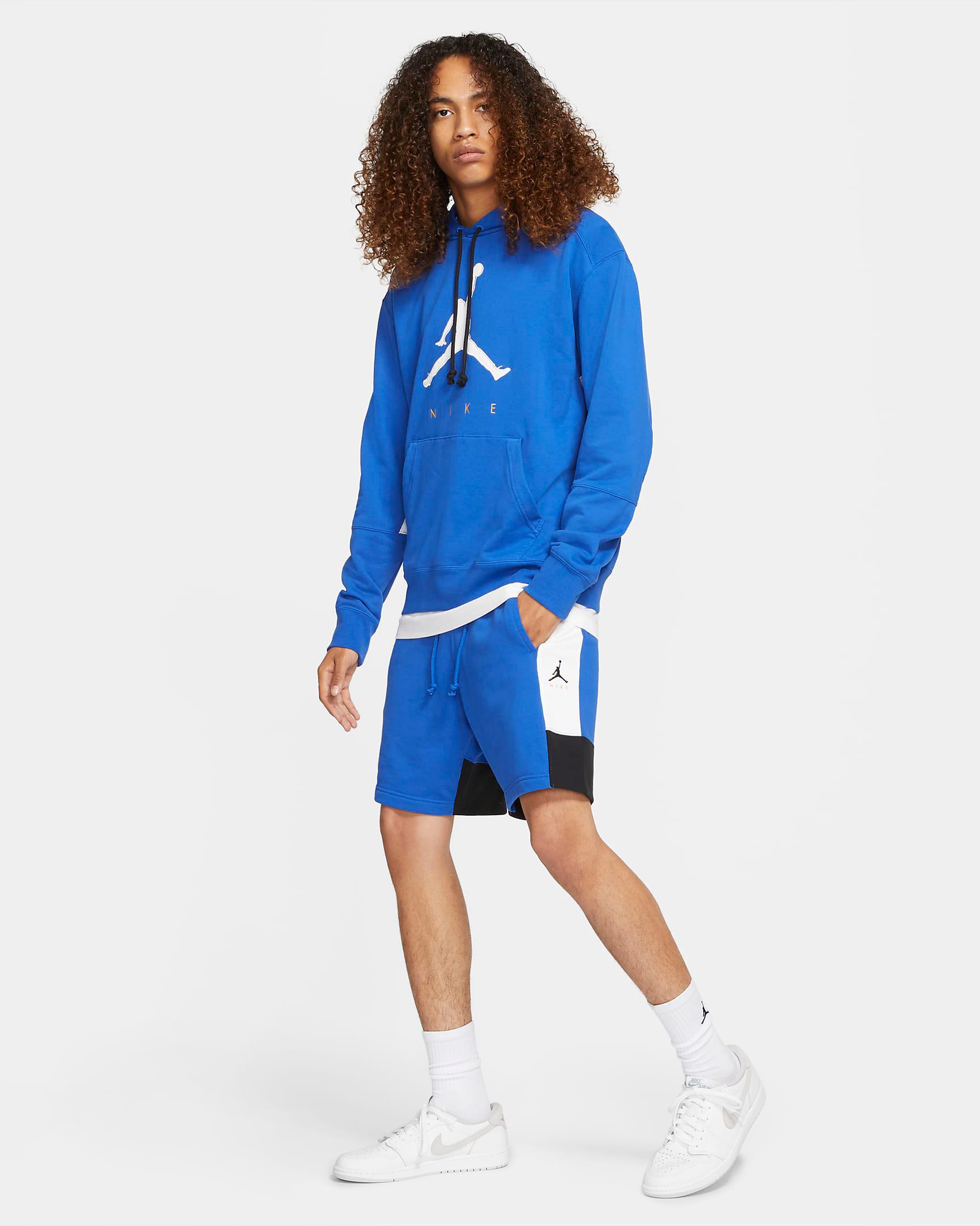 jordan-racer-blue-hoodie-shorts-outfit