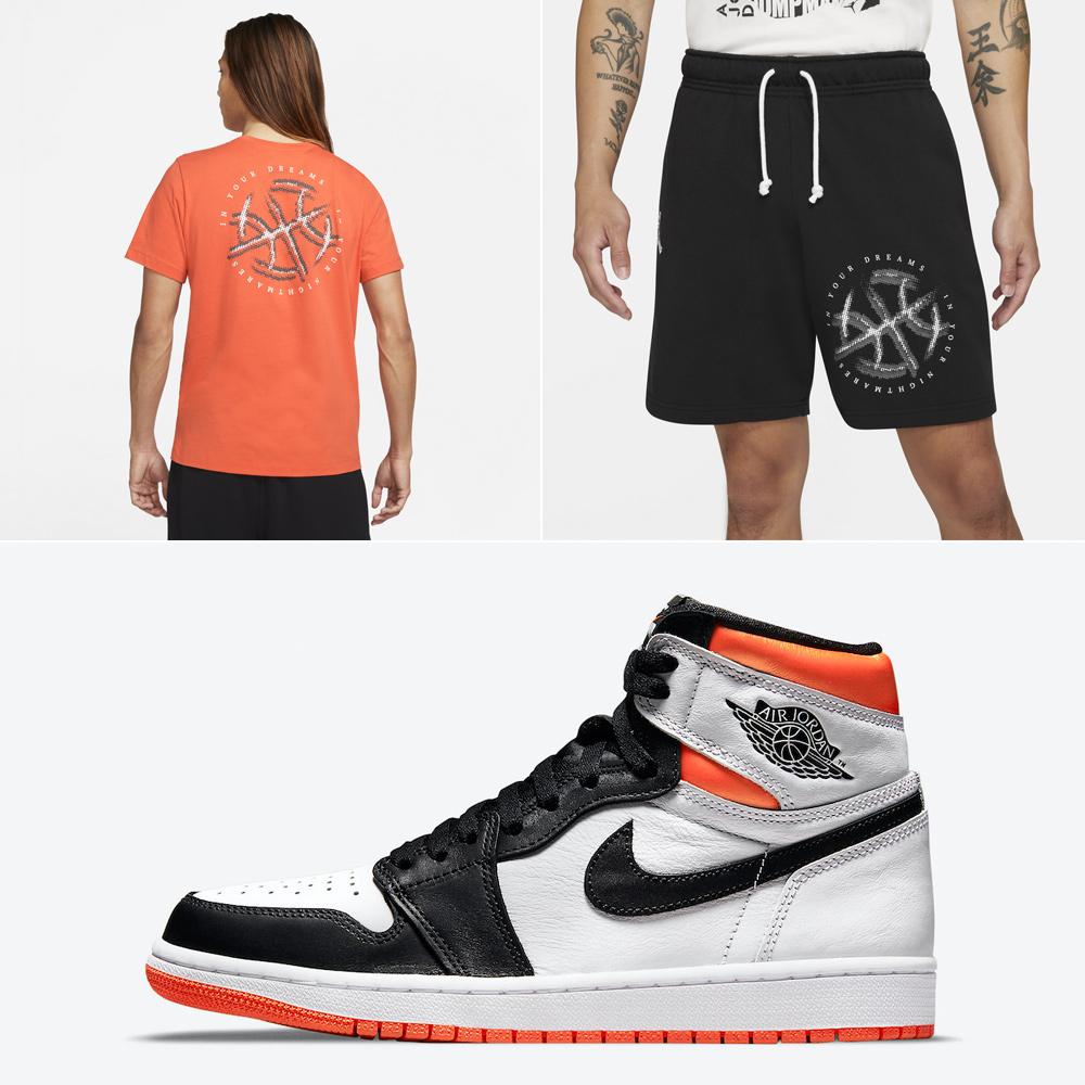 air-jordan-1-high-electro-orange-shirt-shorts-outfit-match