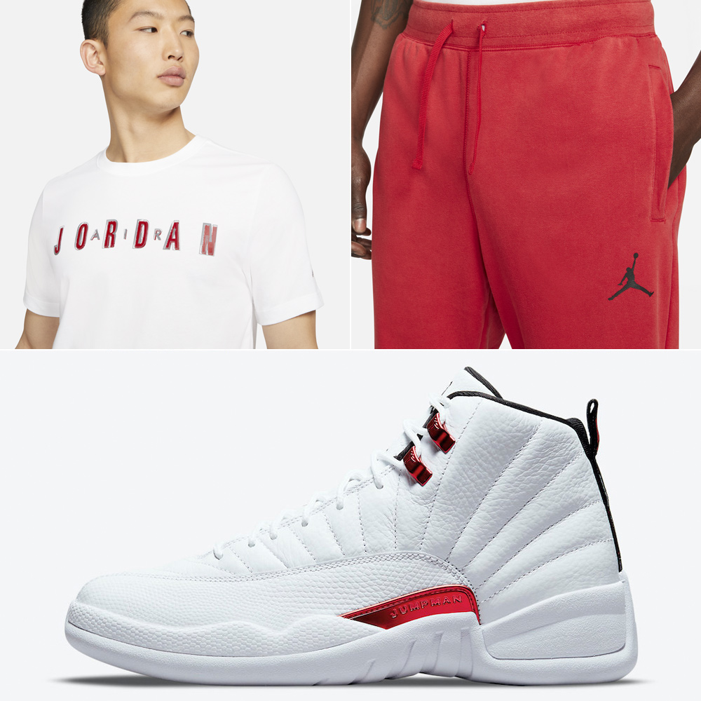 jordan-12-twist-white-metallic-red-shirt-pants-match
