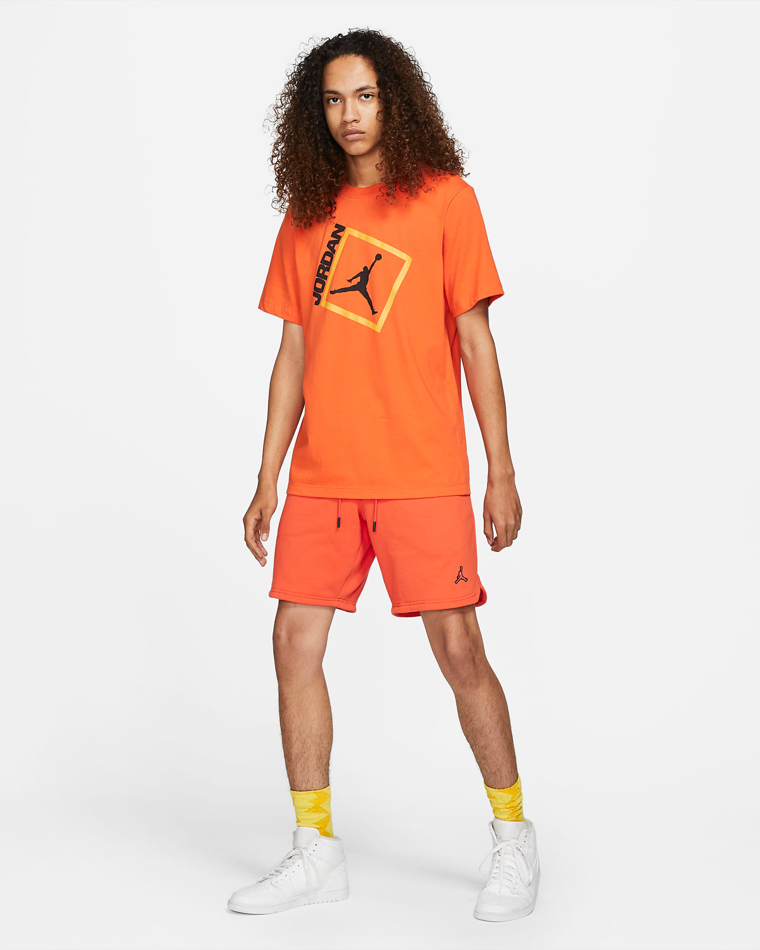 jordan-electro-orange-shirt-shorts-outfit