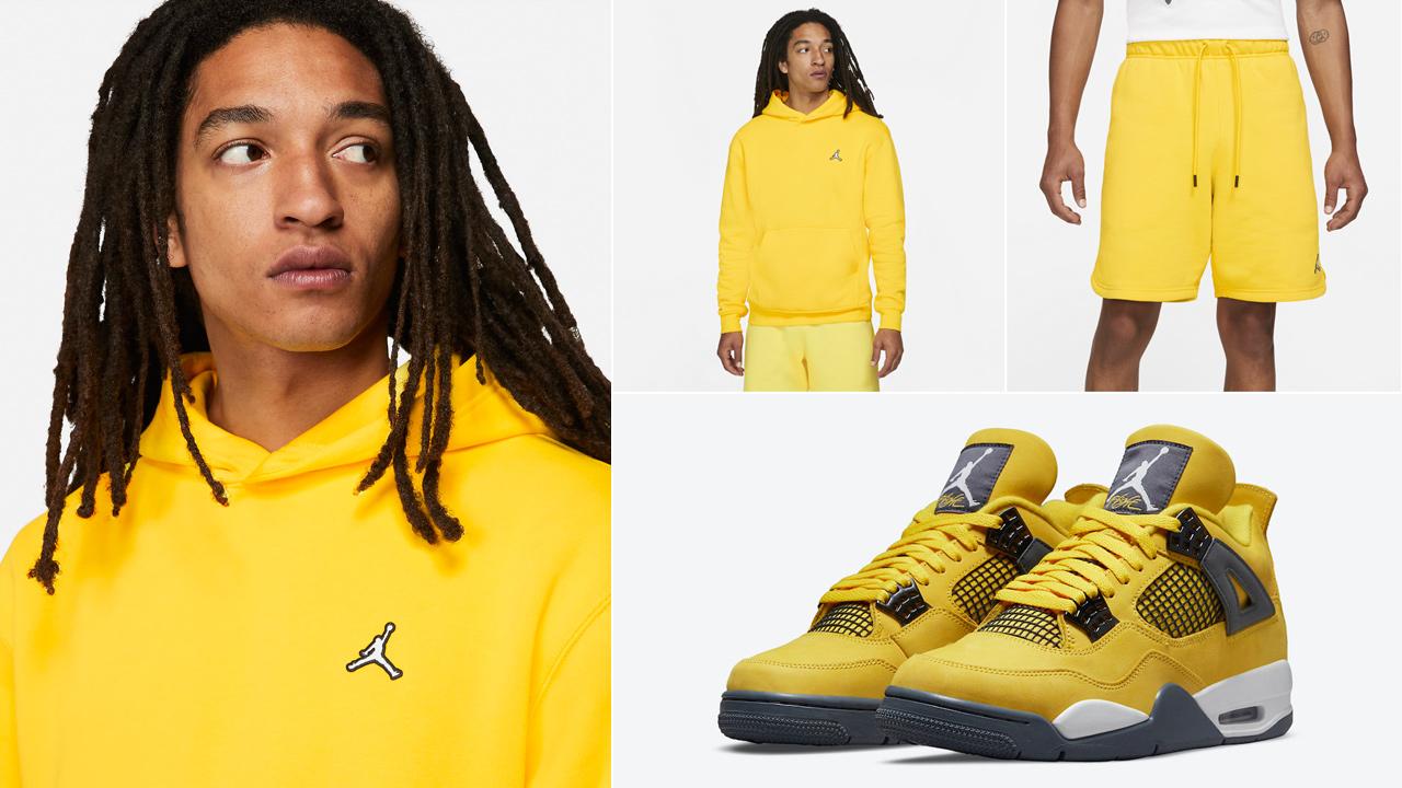 air-jordan-4-lightning-yellow-hoodie-shorts-outfit