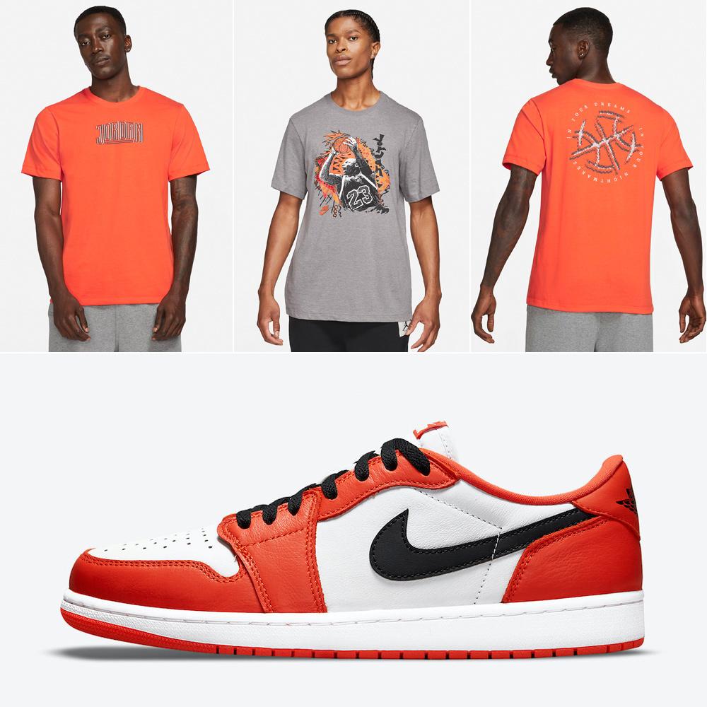 jordan-1-low-starfish-orange-shattered-backboard-shirts