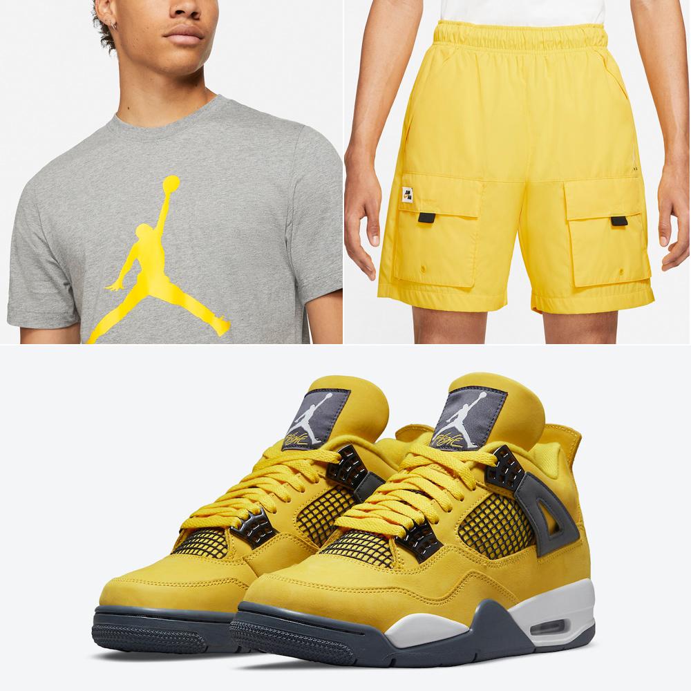 jordan-4-lightning-shirt-shorts-outfit-match