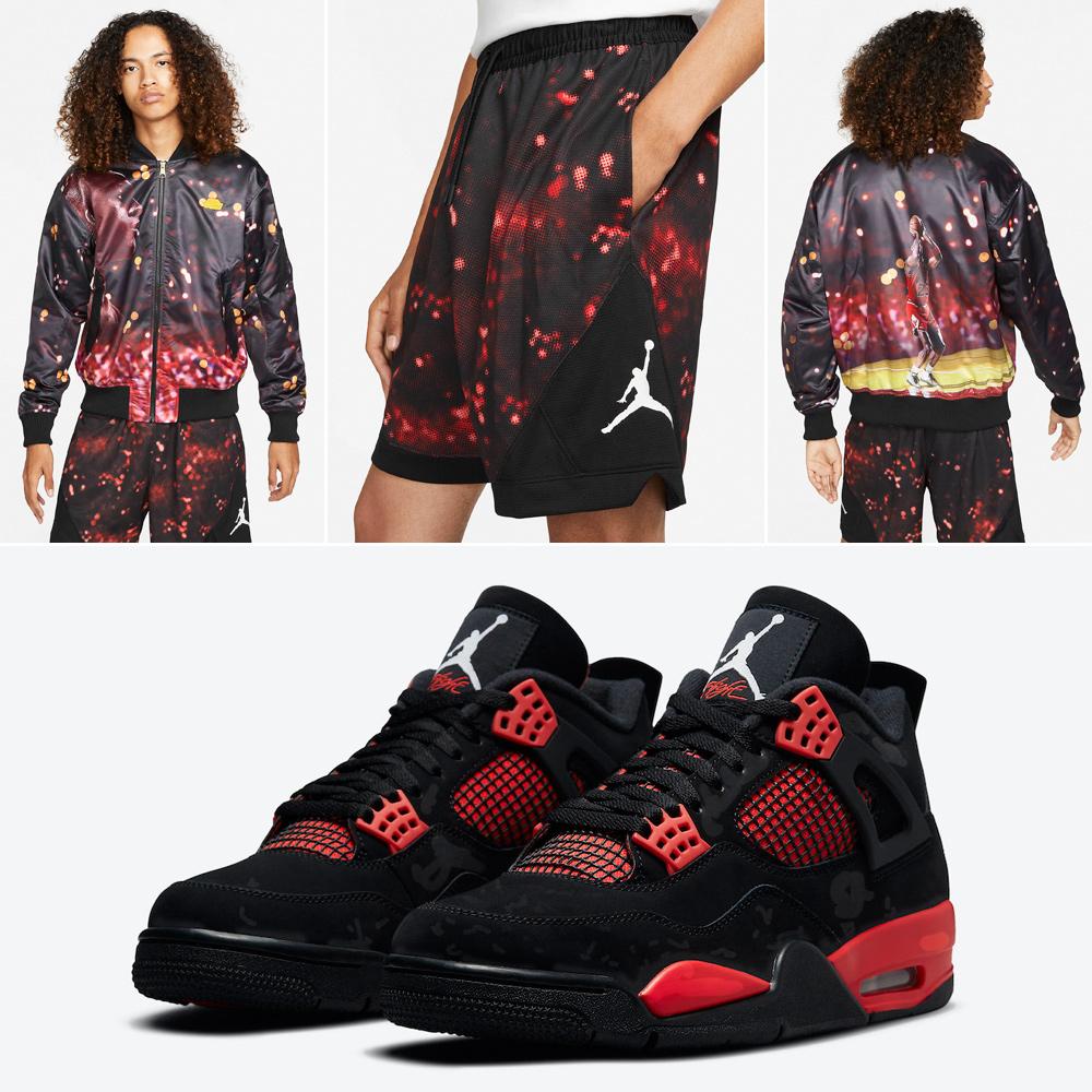 air-jordan-4-red-thunder-jacket-shorts-outfit