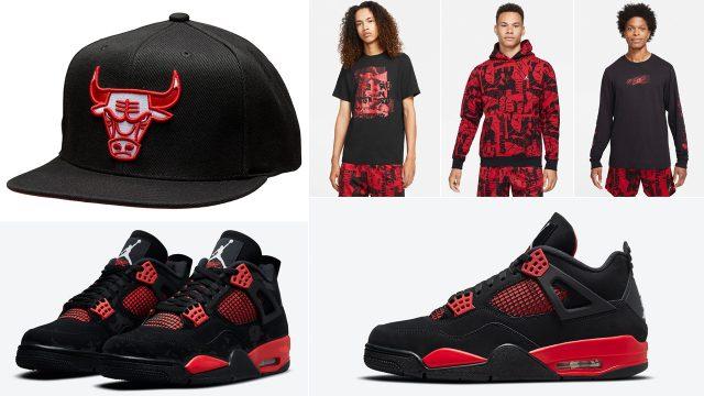 air-jordan-4-red-thunder-shirts-hats-clothing-matching-outfits
