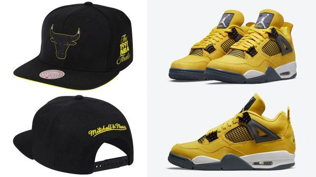 jordan-4-lightning-chicago-bulls-snapback-hat-yellow-black
