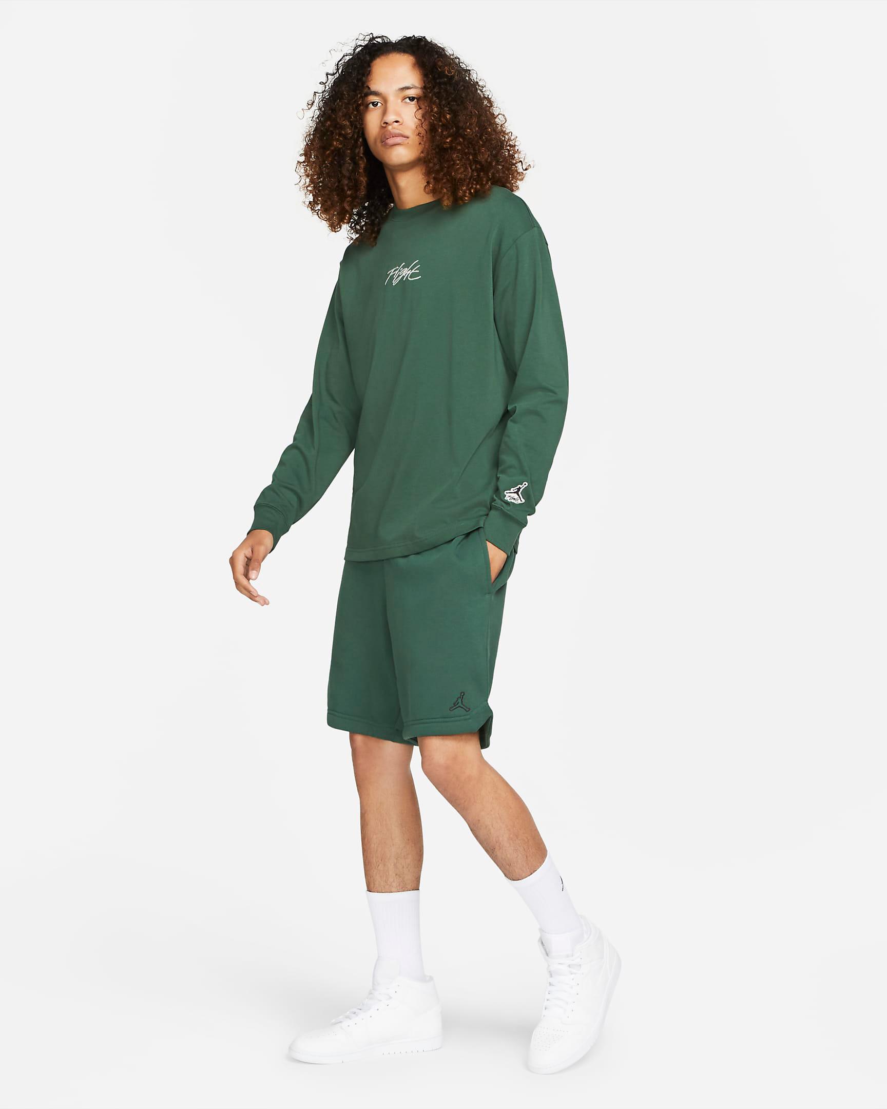 jordan-noble-green-essentials-fleece-shorts-shirt-outfit