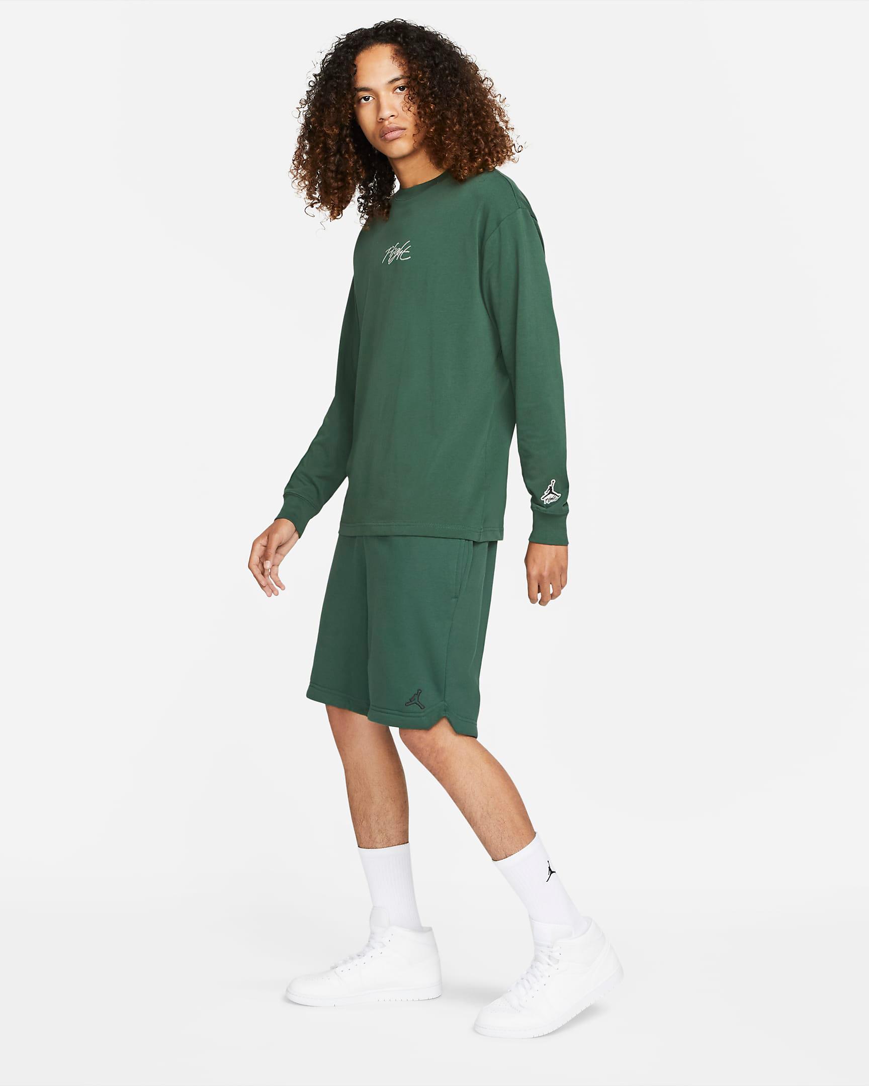 jordan-noble-green-flight-essentials-long-sleeve-shirt-shorts-outfit