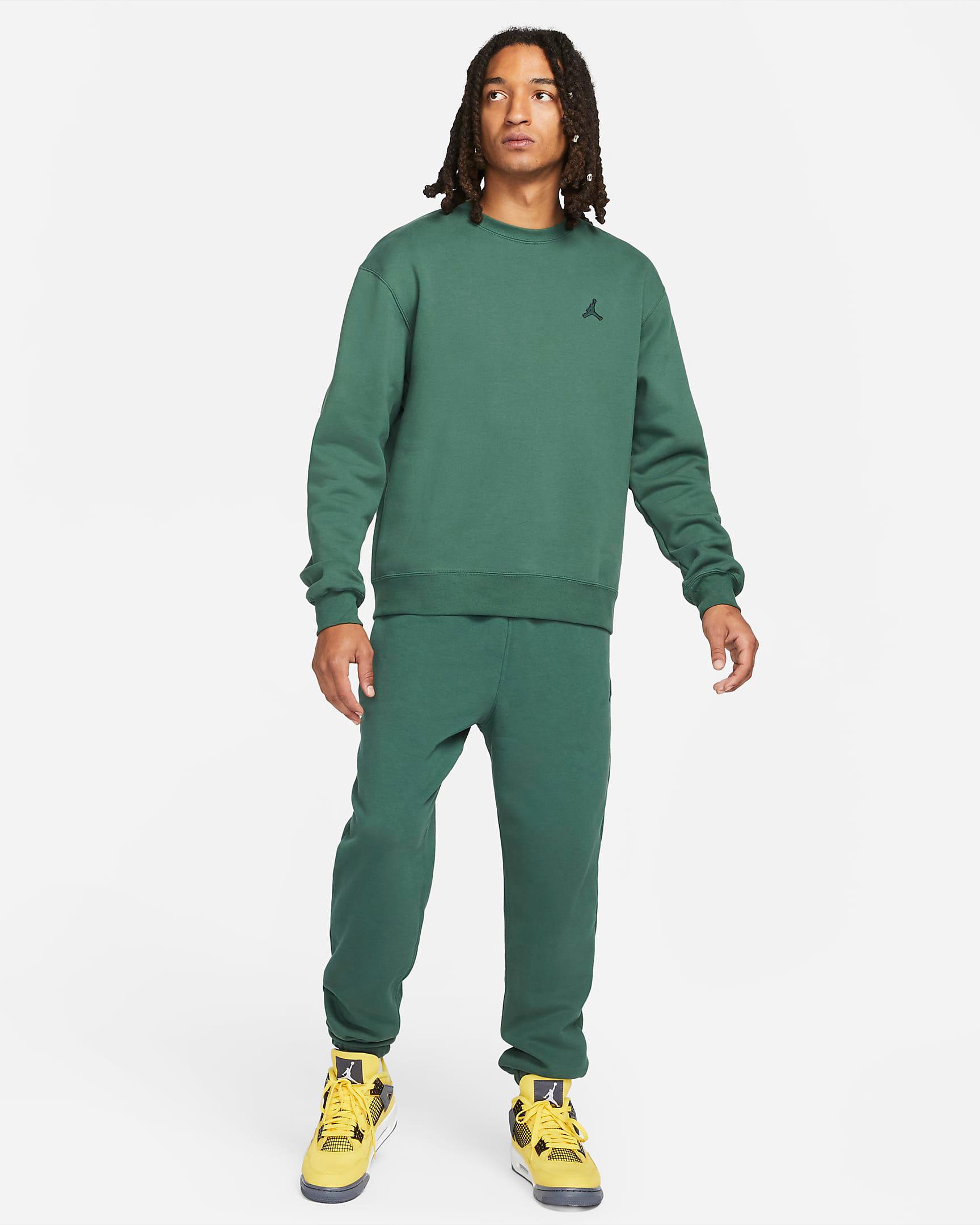jordan-noble-green-statement-crew-sweatshirt-pants-outfit
